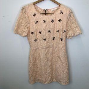 Lush Lace Rhinestone Dress Size Large Cream Color